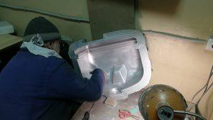 Шлифовка поверхности алюминиевой ротоформы